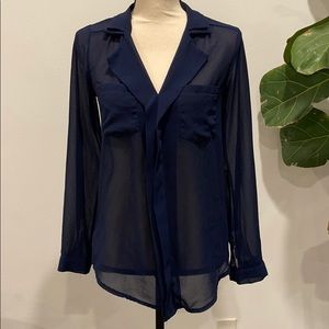 Navy blue collared blouse top shirt front pockets